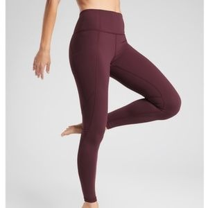 NWT Athleta Maroon Salutation Stash Leggings